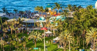 Aerial view of Samson Oceanfront Park during Anniversary event.