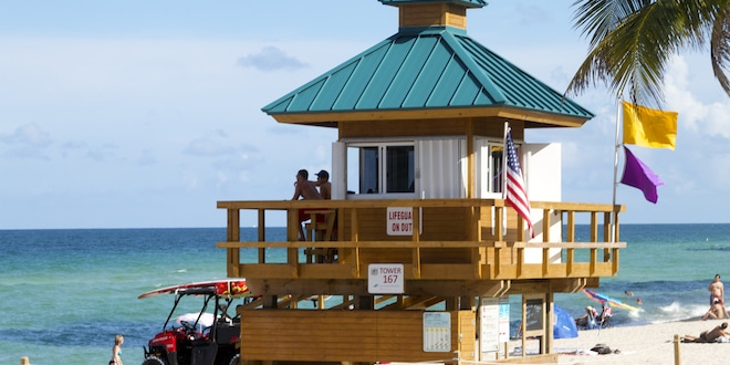 Two Ocean Rescue Lifeguards overseeing the beach from lifeguard tower.