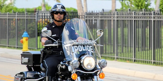SIBPD Motor Unit Officer on motorcycle.