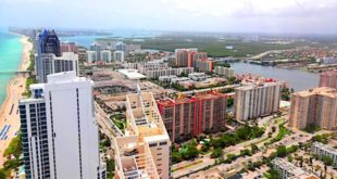 Aerial view of coastline and city of Sunny Isles Beach