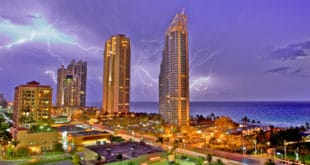 Lightning flashes in the sky during a storm over Sunny Isles Beach