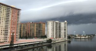 Dark storm clouds moving in over the Intracoastal Waterway in Sunny Isles Beach.