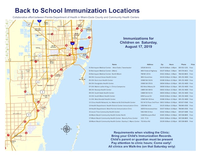 A map and schedule showing 2019 free Back to School Immunizations offered on August 19 in Miami-Dade County