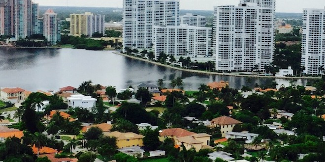 View of residential houses and condominium complexes in Sunny Isles Beach.