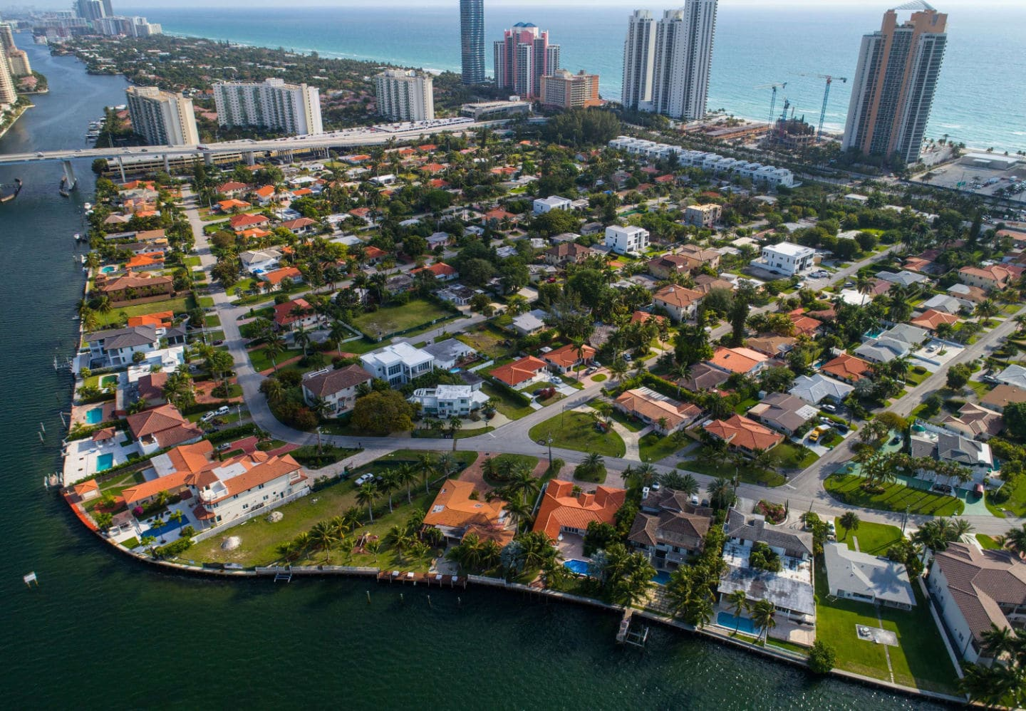 Aerial view of Golden Shores Neighborhood