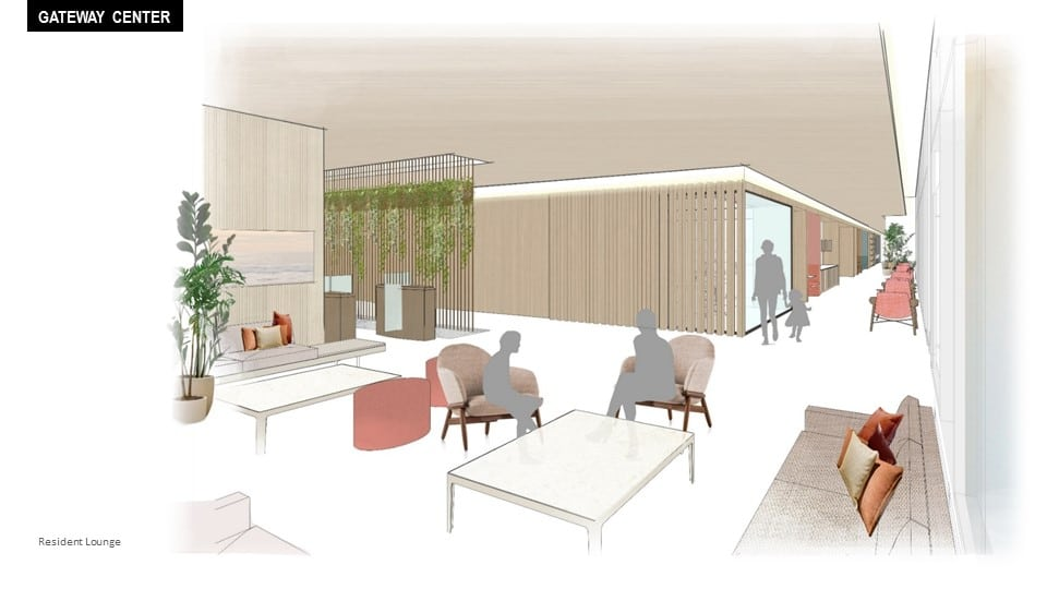 Gateway Center resident lounge schematic rendering