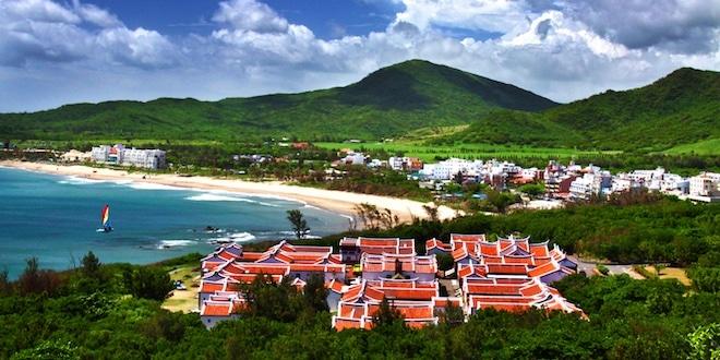 Mountain and village along Hengchun coastline