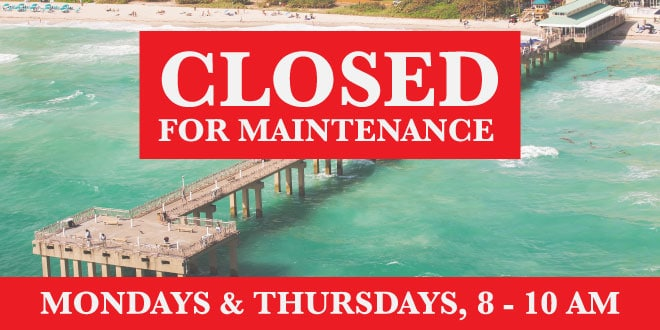 Newport Fishing Pier closed for maintenance. Mondays & Thursdays, 8 - 10 am