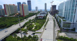 Aerial view of Sunny Isles Blvd.