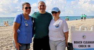 Commissioner Lama, Commissioner Viscarra and Cultural & Community Services Director, Sylvia Flores at the Beach Cleanup
