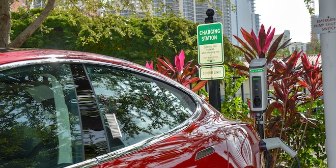 Electric car charging station at the Sunny Isles Beach Government Center