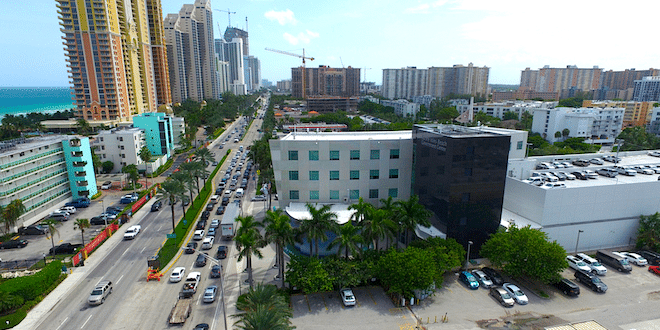 Aerial view of the Sunny Isles Beach Government Center