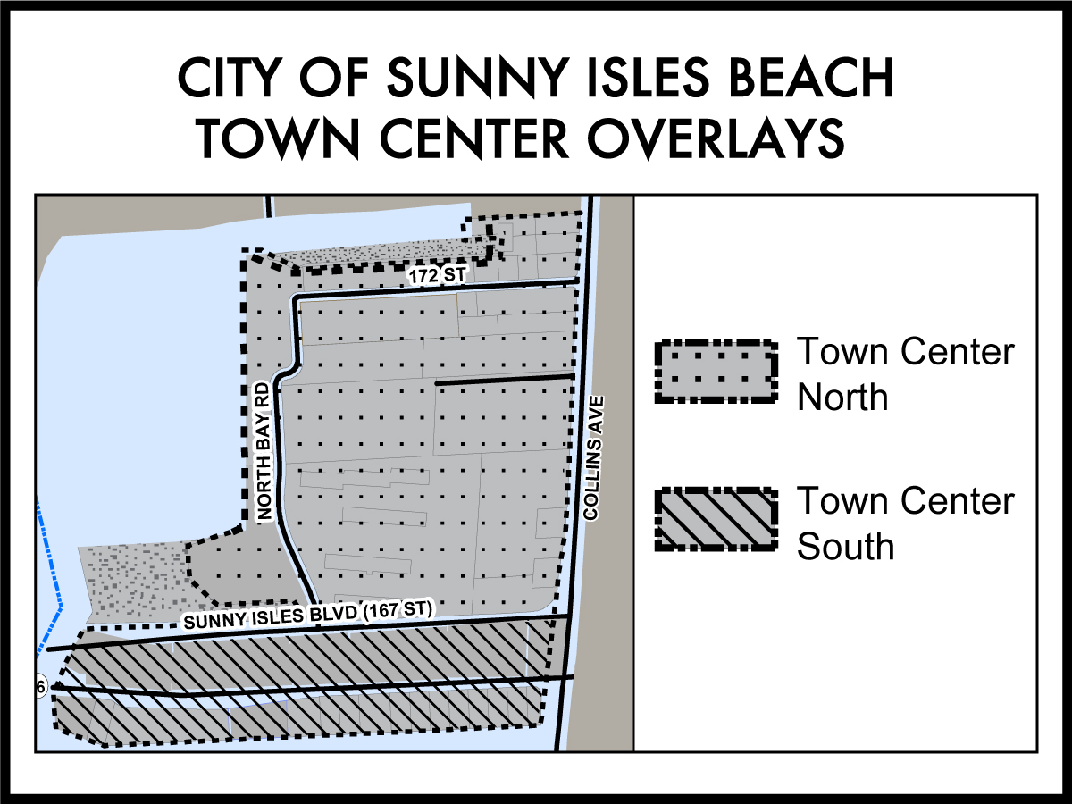 Town Center District map showing north and south overlays