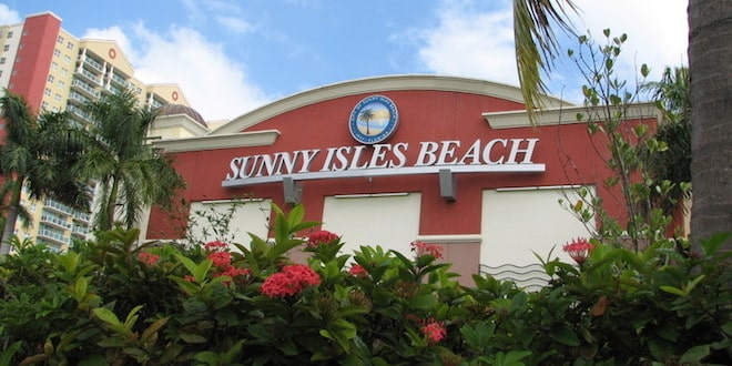 Sunny Isles Beach sign on building