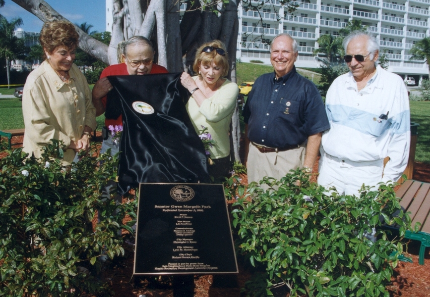 Senator Gwen Margolis with the City Commission unveiling the plaque at the dedication of Senator Gwen Margolis Park in 2001