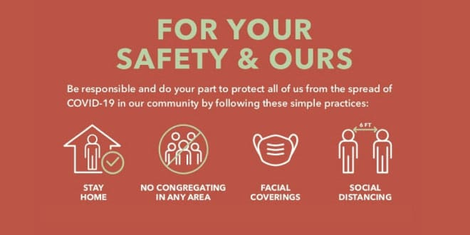 For your safety and our: stay home, no congregating in any area, wear a mask, social distancing