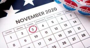 Calendar showing November 3 General Election