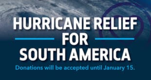 Hurricane Relief for South America. Donations will be accepted until January 15.