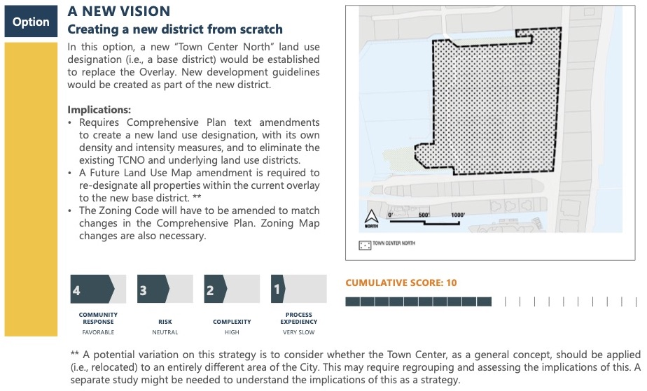 """Option A New Vision: Creating a new district from scratch. In this option, a new """"Town Center North"""" land use designation (i.e. base district) would be established to replace the Overlay. New development guidelines would be created as part of the new district. Implications: Requires Comprehensive Plan text amendments to create a new land use designation, with its own density and intensity measures, and to eliminate the existing TCNO and underlying land use districts. A Future Land Use Map amendment is required to re-designate all properties within the current overlay to the new base district. The Zoning Code will have to be amended to match changes in the Comprehensive Plan. Zoning Map changes are also necessary. Score: Community response scored a 4, Risk scored a 3, complexity scored a 2, Process expediency scored a 1. A potential variation on this strategy is to consider whether the Town Center, as a general concept, should be applied (i.e. relocated) to an entirely different area of the City. This may require regrouping and assessing the implications of this. A Separate study might be needed to understand the implications of this as a strategy."""