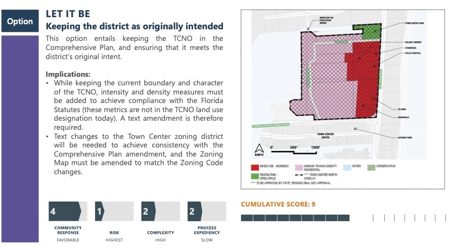 Option Let It Be. Keeping the district as originally intended. This option entails keeping the TCNO in the Comprehensive Plan, and ensuring that it meets the district's original intent. Implications: While keeping the current boundary and character of the TCNo, intensity and density measures must be added to achieve compliance with the Florida Statutes (these metrics are not in the TCNO land use designation today). A text amendment is therefore required. Text changes to the Town Center zoning district will be needed to achieve consistency with the Comprehensive Plan amendment, and the Zoning Map must be amended to match the Zoning Code changes. Score: Community response scored a 4, risk scored a 1, complexity scored a 2, process expediency scored a 2. Cumulative score of 9.