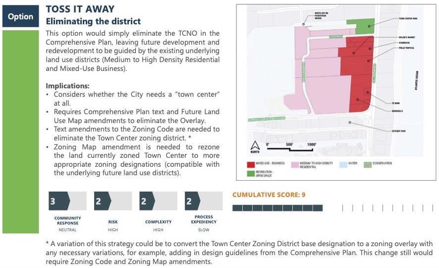 """Option Toss it away: Eliminating the district. This option would simply eliminate the TCNO in the Comprehensive Plan, leaving future development and redevelopment to be guided by the existing underlying land use districts (Medium to High Density Residential and Mixed-Use Business). Implications: Considers whether the City needs a """"town center"""" at all. Requires Comprehensive Plan text and Future Land Use Map amendments to eliminate the Overlay. Text amendments to the Zoning Code are needed to eliminate the Town Center zoning district. Zoning Map amendment is needed to rezone the land currently zoned Town Center to more appropriate zoning designations (compatible with the underlying future land use districts). Community response scored a 3, risk scored a 2, complexity scored a 2, process expediency scored a 2. Cumulative Score is 9. * A variation of this strategy could be to convert the Town Center Zoning District base designation to a zoning overlay with any necessary variations, for example, adding in design guidelines from the Comprehensive Plan. This change still would require Zoning Code and Zoning Map amendments."""