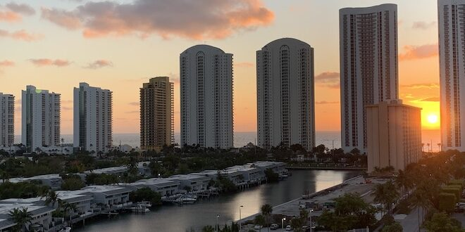 View of Sunny Isles Beach skyline and intracoastal waterway