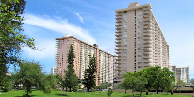 Two large condominium buildings in Sunny Isles Beach