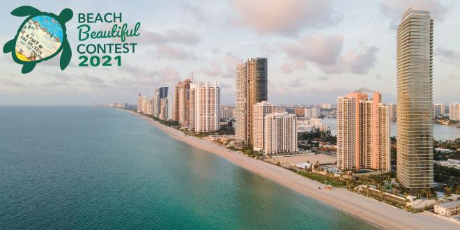 Coastline of Sunny Isles Beach with Beach Beautiful Poster Contest logo